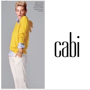 CAbi Yellow Citrus Canary Tie back sweater